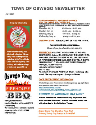 April 2021 Town of Oswego Newsletter